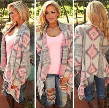 Sweaters 2016 women cardigan Sweaters poncho collar long sleeve irregular asymmetrical printed loose-fitting shrug coat jacket  (China (Mainland))