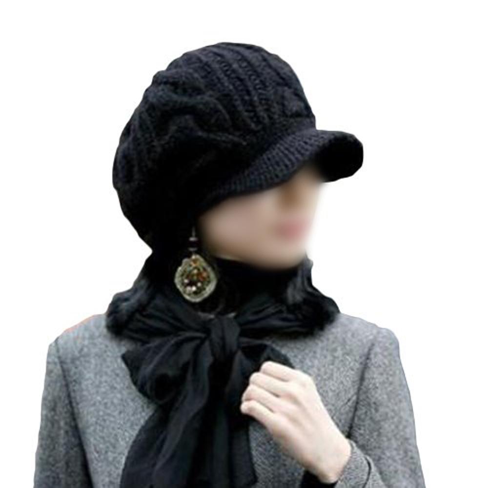 WSFS Hot Sale Women Slouchy Cabled Pattern Knit Beanie Crochet Rib Hat Warm - Black(China (Mainland))