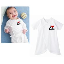 Baby Romper I Love Mama I love Papa Romper Newborn Butterfly Romper Climbing Clothing(China (Mainland))