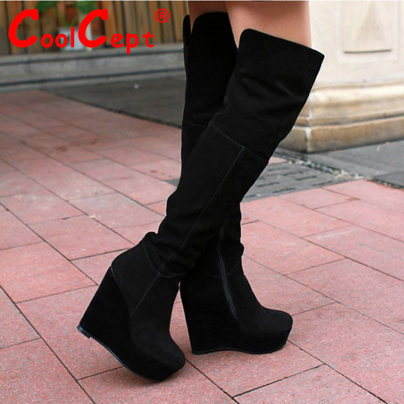 Coolcept Free shipping over knee natrual real genuine leather wedge boots women snow warm boot shoes R1785 EUR size 34-39<br><br>Aliexpress