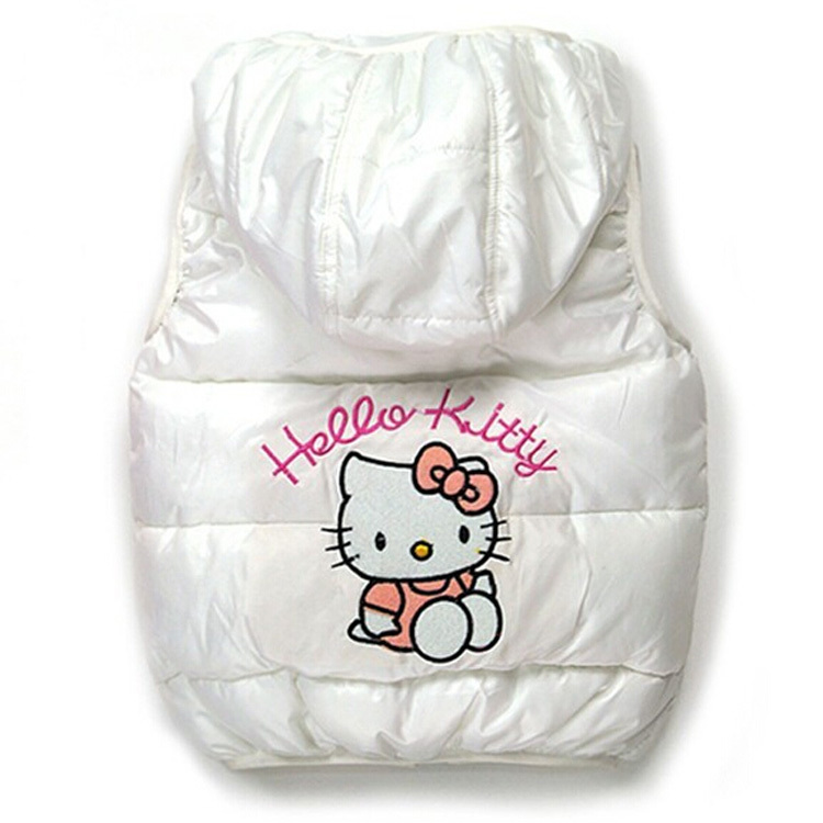 Children Outerwear Baby Girls Leopard Brand Lace Vest hello kitty Clothing Kids Girl's Cartoon Clothes Autumn Spring Parka(China (Mainland))