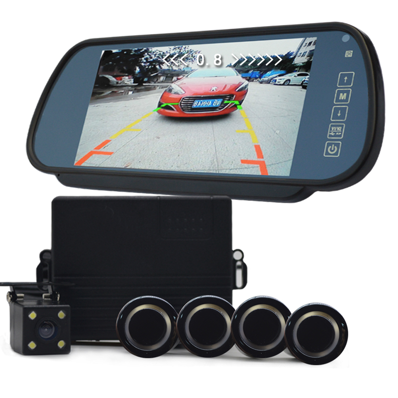 7 inch car monitor video parking Sensors system reverse backup assistance car HD visual reversing radar all-in-one system(China (Mainland))