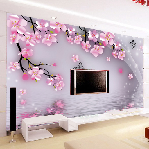 Large mural wallpaper the romantic flowers wallpaper for living room tv background wall paper - Flower wall designs for a bedroom ...