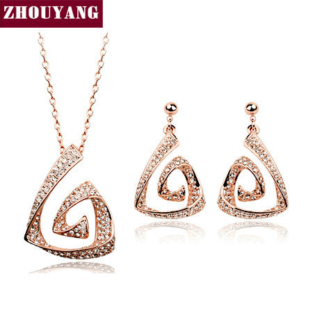 Top Quality ZYS089 Fully-jewelled 18K Gold Plated Jewelry Necklace Earring Set Rhinestone Made with Austrian  Crystal Health