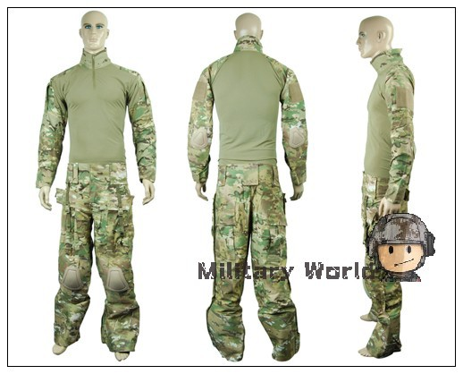 Emerson Airsoft Combat Military Tactical Uniform Clothing Gen 2 BDU Army Shirt & Pants With Elbow Knee Pads Multicam Camouflage