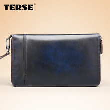 TERSE Large capacity design long purse genuine leather wallet for men clutch wallet OEM service high quality berluti style