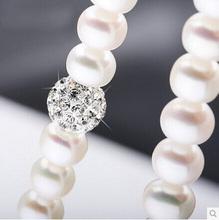 2015 Мода Ожерелье Ювелирные Изделия Перлы 8-9 мм Натуральный Жемчуг Хрустальный Шар 925 Стерлингового Серебра Подвески Ювелирные Изделия Для Женщин(China (Mainland))