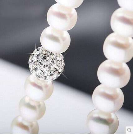 2015 Fashion Necklace Pearl Jewelry 8-9mm Natural Pearls Crystal Ball 925 Sterling Silver Jewelry Pendants For Women(China (Mainland))