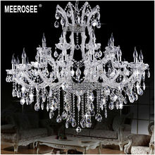 24 Lights Massive Clear Chandeliers Crystal Clear Vintage chrystal chandelier Hotel Lighting Pendelleuchte lamp for Home decor(China (Mainland))