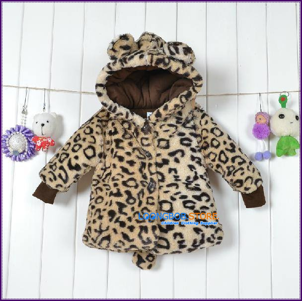 [LOONGBOB]2015 Children baby boy girl autumn winter jacket leopard cotton-padded outer coat hoodie 0-30months free shipping 221A(China (Mainland))