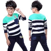 Striped long sleeved uniforms boys fall paragraph two piece suit children sports suits children s wear