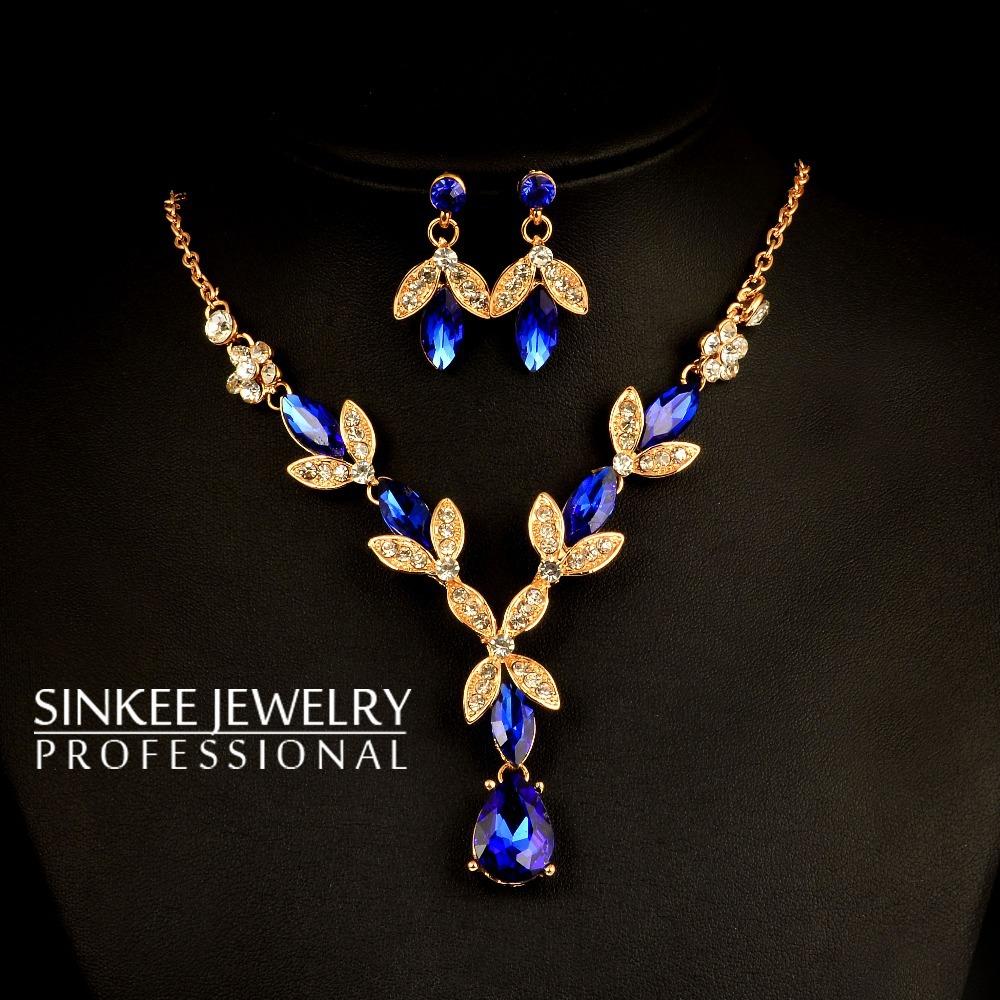 Luxury Flower Blue & Red Rhinestone Necklace Earrings Wedding Jewelry Sets Sinkee 18K Gold Plated Tz119
