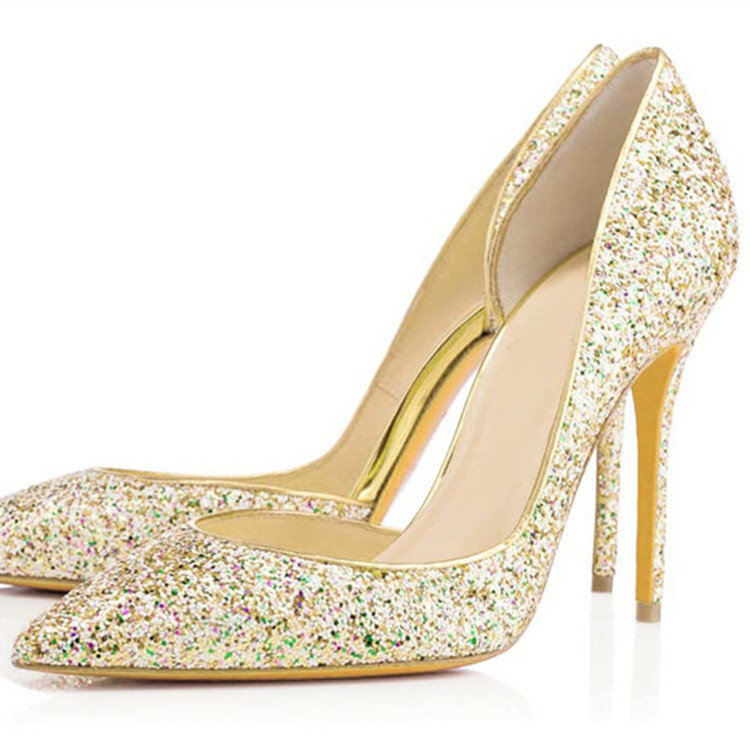 2015 new wedding shoes high heels pointed toe evening for Gold dress shoes for wedding