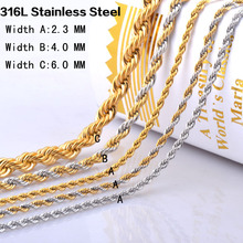 2-6mm*45-60cm Vintage mixed 18K gold and silver 316L stainless steel link chain necklaces men&women sterling steel jewelry IR070