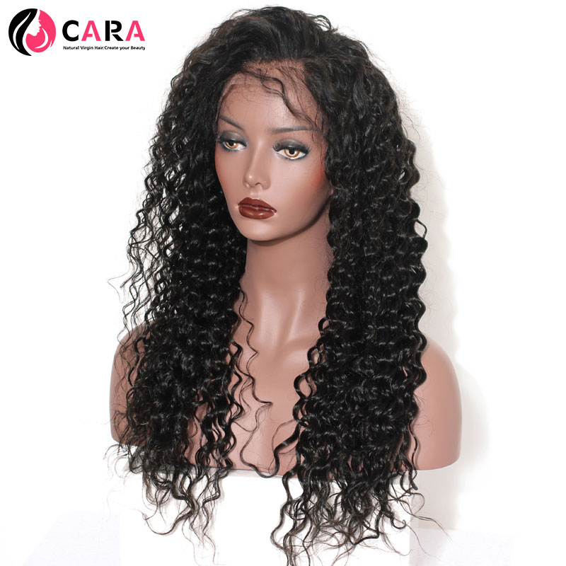 CARA Deep Wave 360 Lace Frontal Wig Natural Color Pre Plucked Hairline With Baby Hair Non-Remy Hair