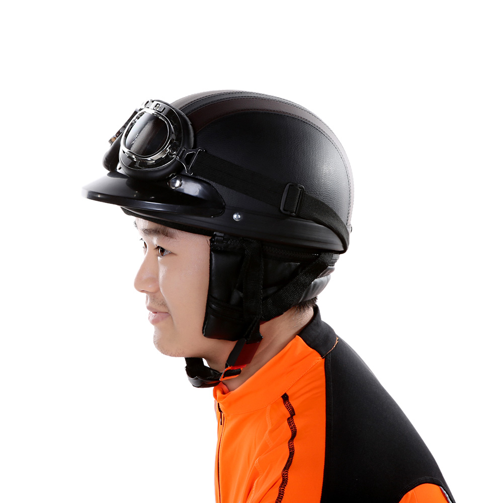 2015 Motorcycle Scooter Open Face Half Leather Helmet with Visor UV Goggles Retro Vintage Style 54-60cm Professional Moto Helmet(China (Mainland))