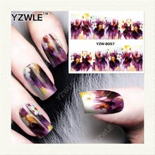 Yzwle 1 folha de DIY unhas de transferência de água Art Sticker / decalques de água prego / prego adesivos acessórios YZW-8057
