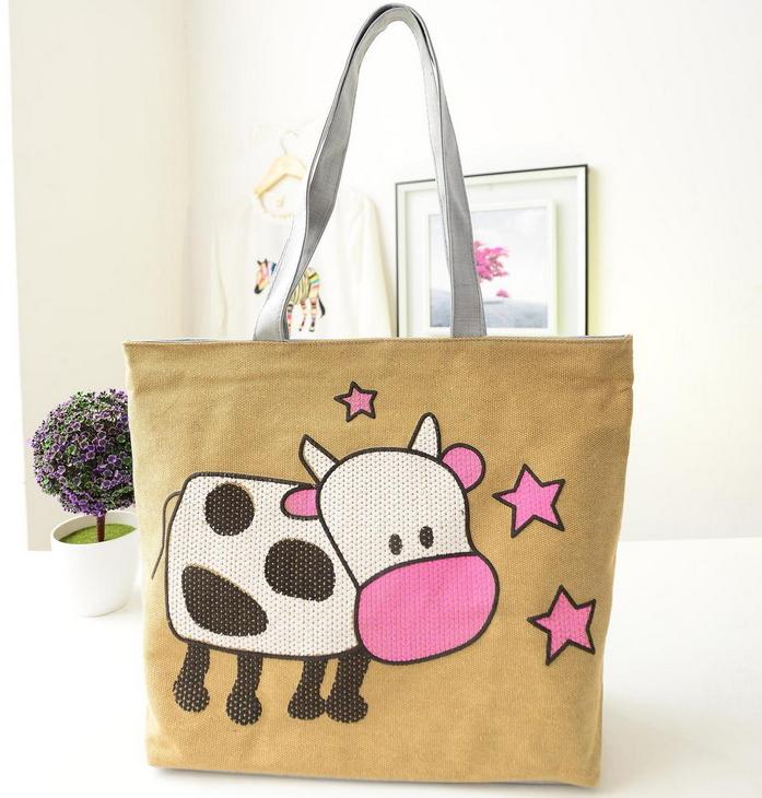 cartoon cow printed women handbag canvas shoulder bag large cotton school bag tote retail TD-17(China (Mainland))