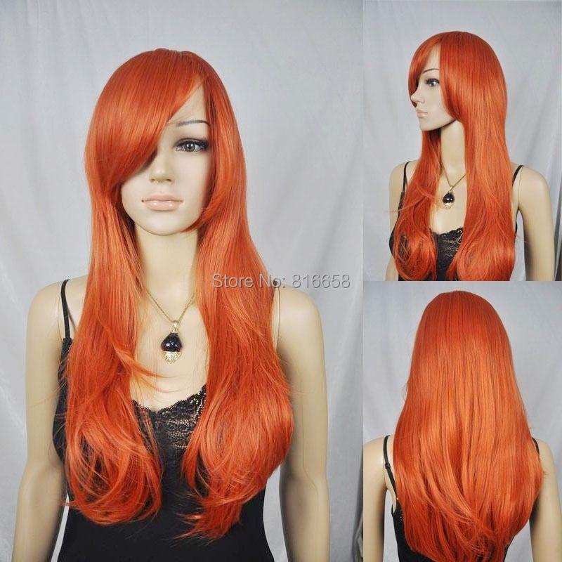 Long Wavy Bright Orange Ramp Bangs Synthetic Hair Cosplay Full Wig new(China (Mainland))