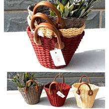 Handmade Straw Weave Vase Basket Storage Organizer Craft for Artificial Flower Wedding Christmas Home Garden Decoration(China (Mainland))