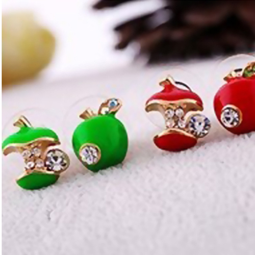 Elegant womens new style lovely apple 2 colors cute green red stud earring high quality(China (Mainland))