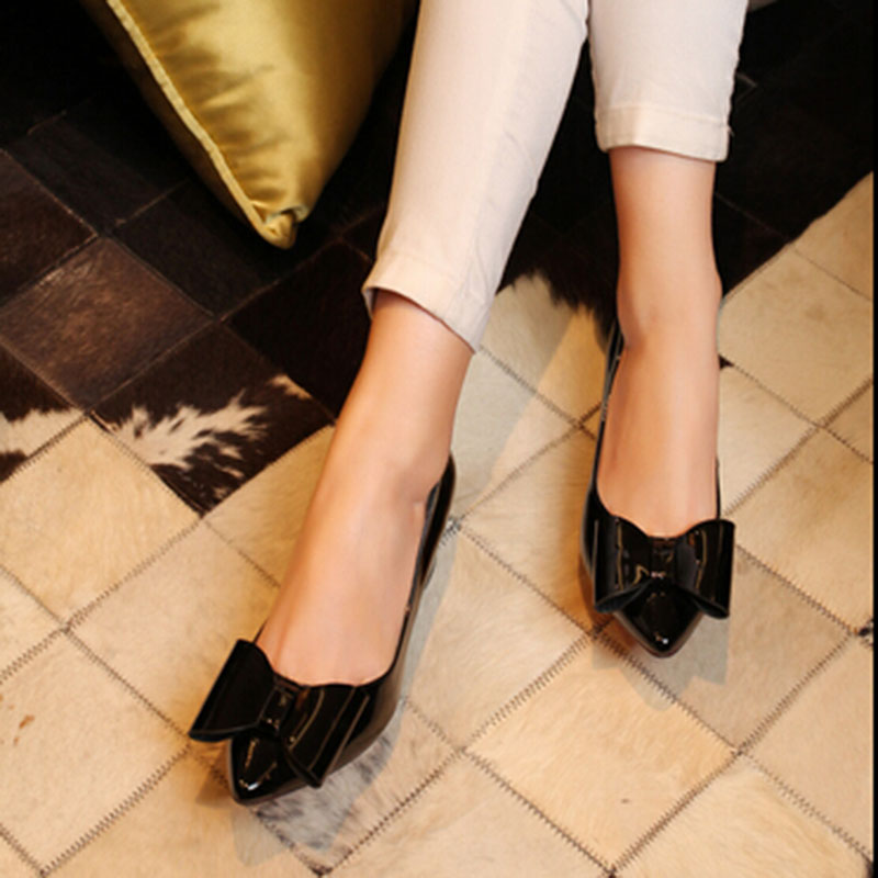 New Arrival Women Shoe Bow High Heels Quality Euro Style Nude Patent Leather Most Popular Single Shoes Chunky Heel Casual<br><br>Aliexpress