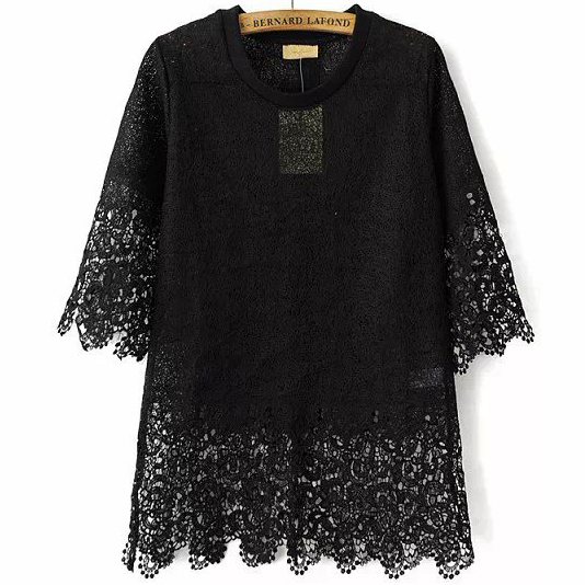 Women Full Lace Shirt White / Black Color Ladies Elegant Summer Tops Femme New 2015 Fashion Designer Tailored Female Shirt(China (Mainland))
