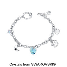 Pt950 Platinum Plated Heart & Moon Drops Bracelets Made With SWAROVSKI ELEMENTS Heart Crystal for Girls' Christmas Gift 19279(China (Mainland))