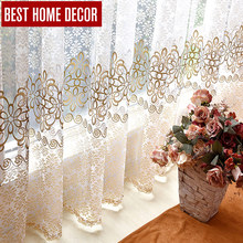 BHD floral tulle sheer window curtains for living room the bedroom modern tulle curtains for window fabric blinds drapes(China (Mainland))