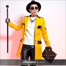 Male yellow long jacket costume fashion outerwear male personalized leather overcoat show dance nightclub singer free shipping(China (Mainland))