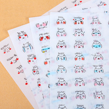 Creative PVC stickers Cute daily expression fashion personality small transparent stickers child DIY toy 4sheets/set