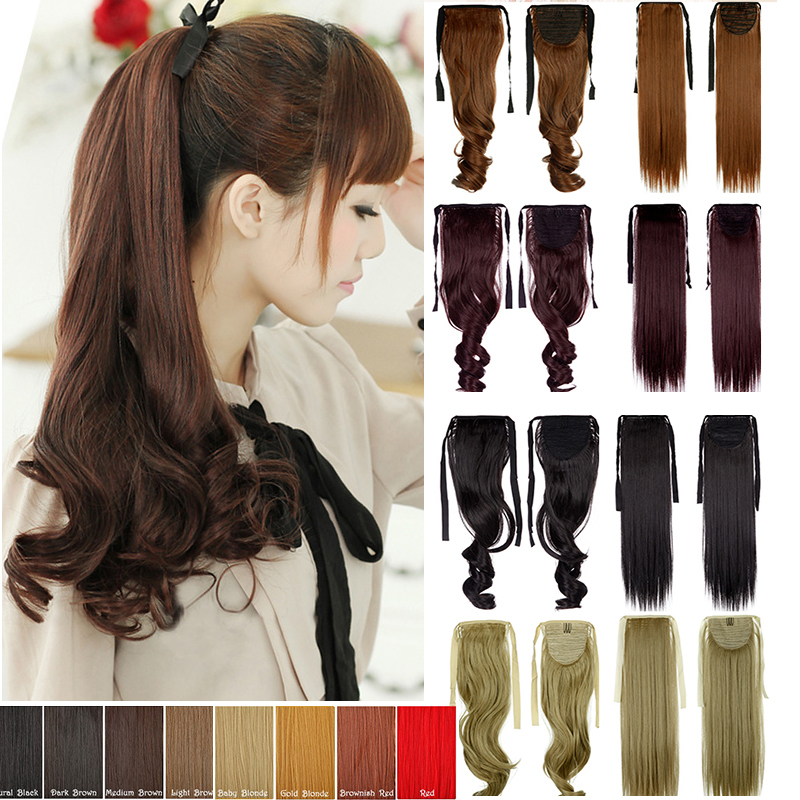 New Drawstring Clip In Ponytail Sythetic Hair Extension Wrap Around Pony Tail Curly Hairpiece Hight quality aig<br><br>Aliexpress