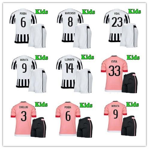 PIRLO TEVEZ VIDAL LLORENTE MACHISIO MORATA 2016 Juves kids embroidery football jersey New 15 16 Juves Kids / Youth jersey kit (China (Mainland))