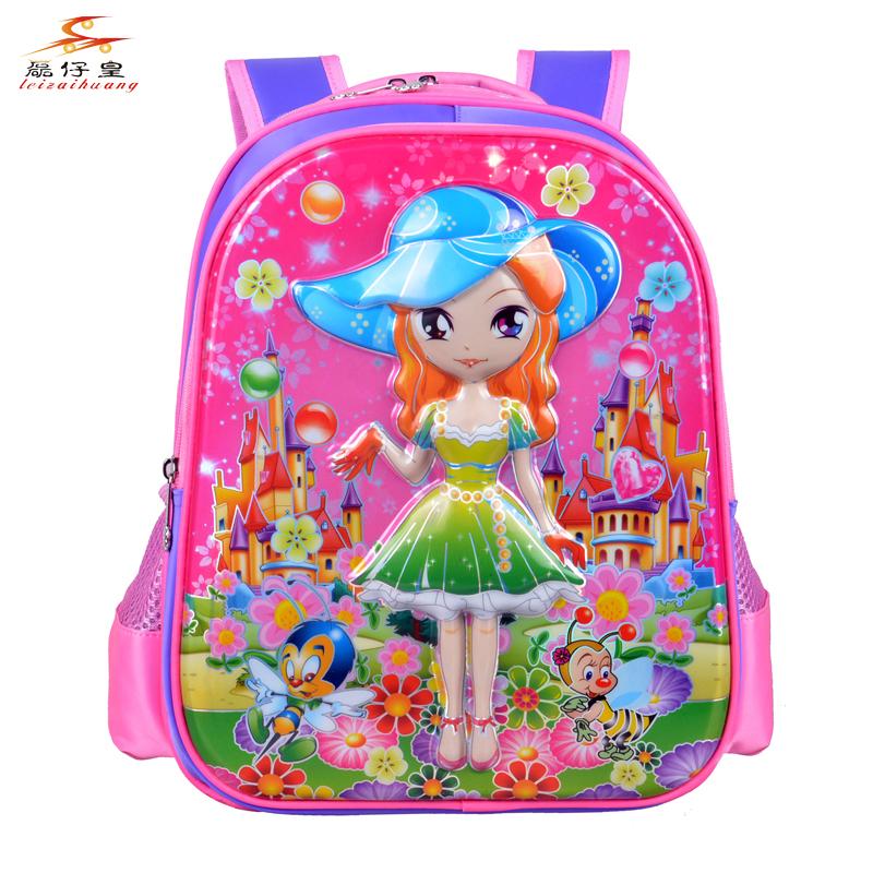 2016 1-2 grade students children bag Cartoon Barbie Girl Princess promotional backpacks(China (Mainland))