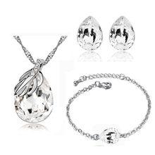 2017 מותג חתונה כלה נשים לבן זהב צבע עלה מים דמעת תליון שרשרת עגילי תכשיטים סטי 80125(China)