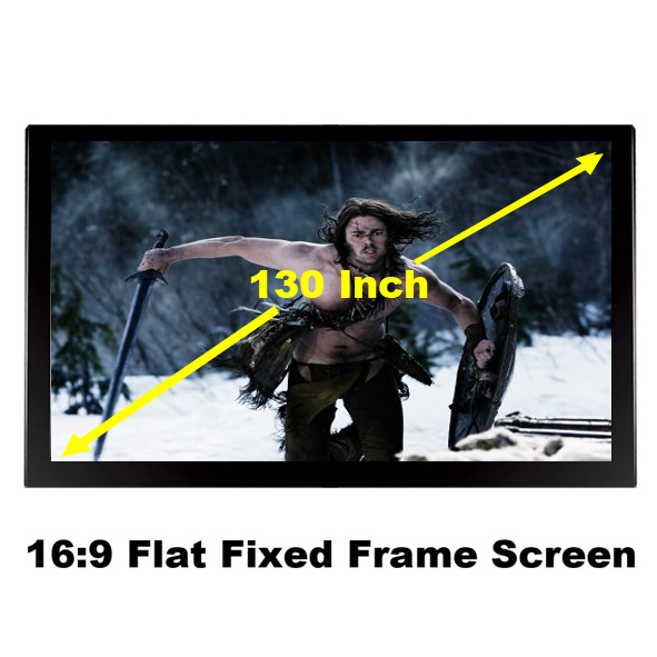 2016 New Arrival 130 Inch Fixed Frame Projection Screen 16:9 Support 3D Cinema Projector Screen 5.3 x 9.4ft Black Velvet 80mm(China (Mainland))