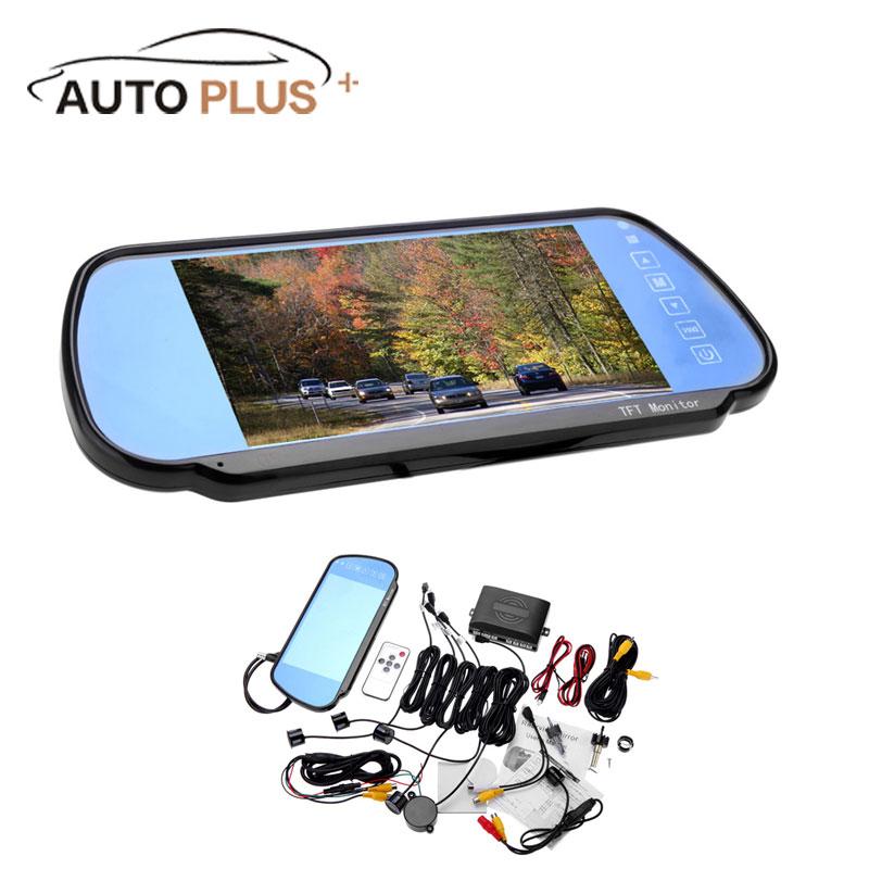 "4 Parking Sensors Alarm 7"" TFT LCD Display Camera Video Car Rearview Mirror Radar System+Wireless Transmitter&Receiver Set(China (Mainland))"