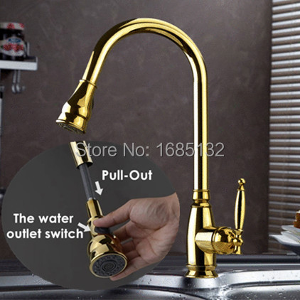 High Quality Heavy Solid Brass Single Handle Pull out Gold Kitchen Faucet Sink Mixer Gooseneck Taps(China (Mainland))