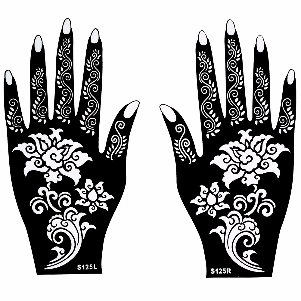 Hot 1 Pair Henna Tattoo Stencil Beautiful Flower Pattern Design for Women Body Hands Mehndi Airbrush Art Painting 20 11cm S125
