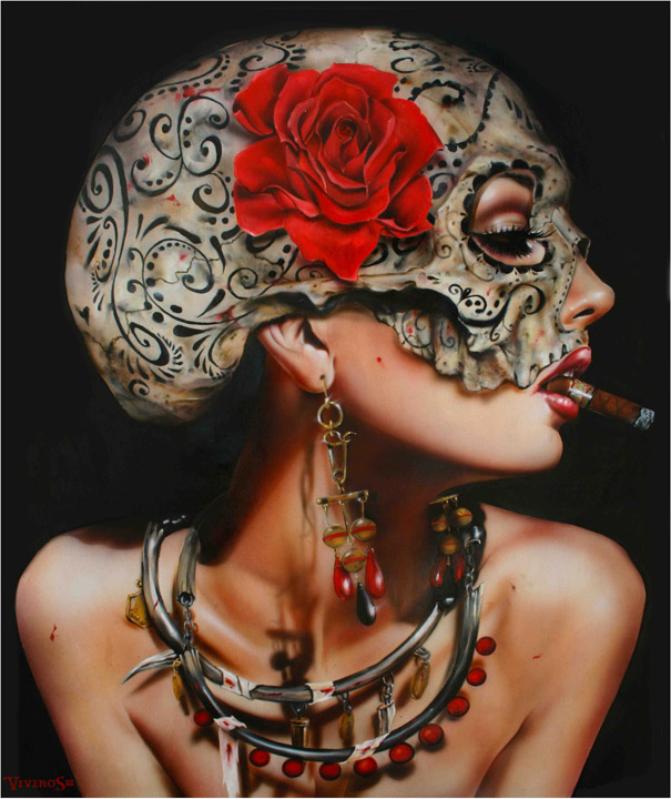 Hand painted canvas oil painting Reproduction SWEETEST TABOO Erotic Smoking Red lip Sexy Girl wall art pictures for decoration(China (Mainland))