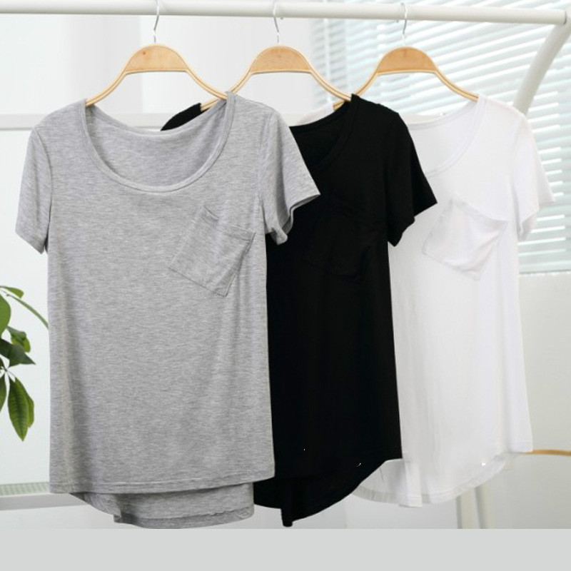 Modal Short Sleeveso Neck Loose T Shirts Summer New Arrivals Bottoming Pocket Casual European Style Fashion Women Quality Tops(China (Mainland))