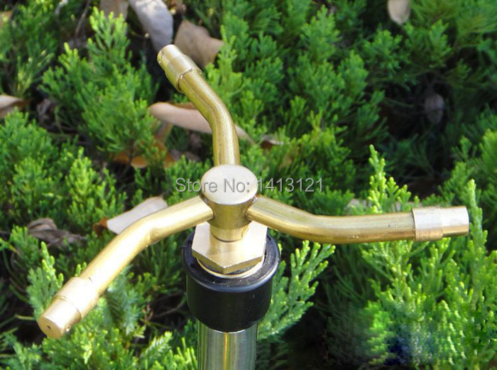 free shipping DN15 trigeminal nozzle 360degree rotating sprinkler lawn irrigation sprinkler watering spray vegetable garden tool