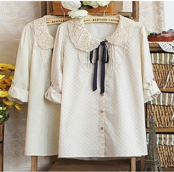 blusas femininas 2015 Japan Women casual lace Crochet Bow shirts Polka Dot blouses Ladies Doll collar Sweet long sleeve shirt