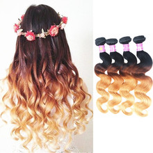 Halo Lady 7A Ombre Hair Brazilian Virgin Hair Body Wave 4Pcs 1B/4/27 Three Tone Ombre Brazilian Hair Weave Human Hair Extensions(China (Mainland))