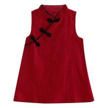 Crianças Veste Crianças Menina Sem Mangas Flor de Impressão do Algodão e Linho Vestido floral Bebê Menina vestidos de Verão para meninas(China)