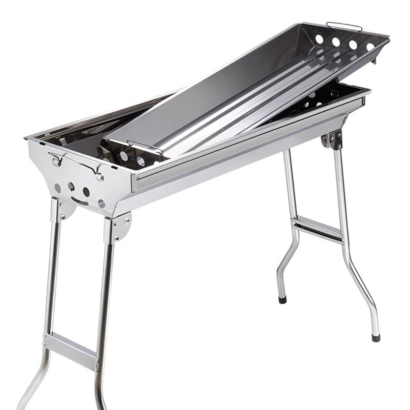 Free shipping folding stainless steel outdoor portable home barbecue grill outdoor large thickening charcoal barbecue stove(China (Mainland))