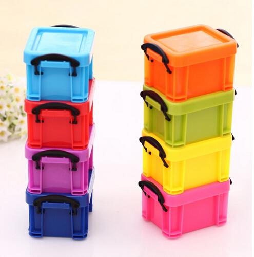 5pcs Wholesale Mini candy colored locking glove box Desktop Storage Box Home Storage Organization Jewelry Bins Sundries Food(China (Mainland))