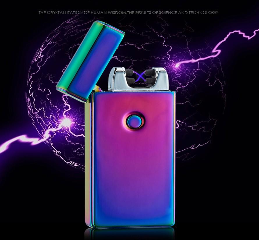 ถูก มาใหม่บุหรี่สูบบุหรี่ไฟแช็กอุปกรณ์อาร์คไฟฟ้าลมแบบชาร์จแอลอีดีไม่มีก๊าซโลหะชีพจรไฟแช็USB