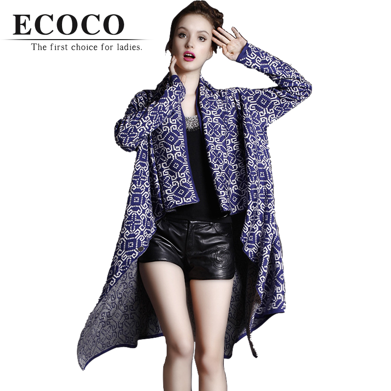 High Quality Bohemian Boho Retro Jacquard Knitted Sweater Black White Blue Long Irregular Cardigan Coat Women Lady Fall D118