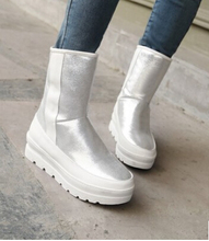 Las mujeres de nueva moda otoño invierno caliente de la piel de plata dulce rosa zapatos de tacón de plataforma plana botas de nieve de gran tamaño, más 40-42(China (Mainland))